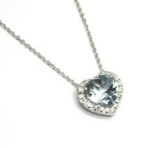 18K WHITE GOLD NECKLACE LOVE HEART PENDANT AQUAMARINE DIAMONDS FRAME ROLO CHAIN image 2