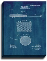 Baseball Bat Patent Print Midnight Blue on Canvas - $39.95+
