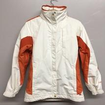 Columbia White & Orange Trim Jacket Womens Small Zip Front Waterproof Hooded - $16.83