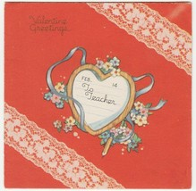 Vintage Valentine Card Heart Printed Lace to Teacher Red 1942 Carrington - $6.92