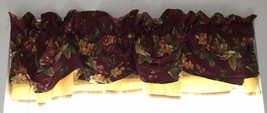 "Waverly Garden Room Floral Manor Valance Double Layer Tuck Red Gold 72"" ... - $15.83"