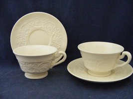 2 Sets Vtg Wedgwood Etruria Barleston Old Patrician Footed Cup & Saucer ... - $19.95