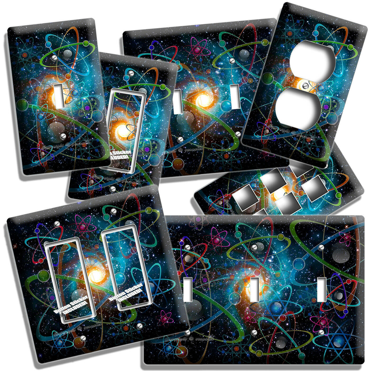 BIG BANG UNIVERSE ATOMS SPACE SCIENCE LIGHT SWITCH OUTLET WALL PLATES ROOM DECOR