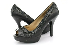 Michael Kors Womens 8.5M Black Patent Leather Peep Toe High Heel Shoe - $29.99