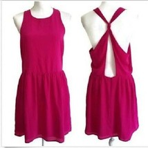 Forever 21 Dress L Azalea Pink Drop Waist Open Twist Tie Back New D36 - $14.99