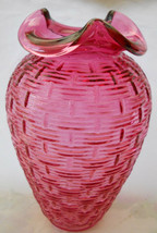 "Fenton Glass Cranberry Basketweave Vase 8"" Ruffled Top Red - $71.52"