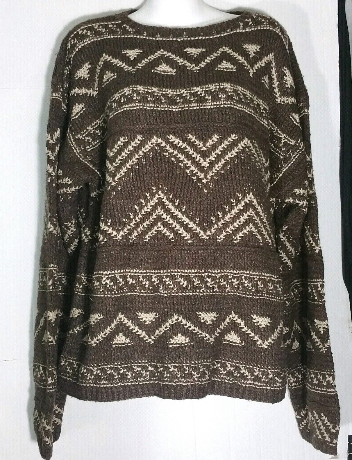 Primary image for Ralph Lauren Polo Sport Wool Silk Fair Isle Aztec Brown Crewneck Sweater Large L
