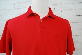Tommy Bahama Polo Shirt Red Pique Cotton Coconut Shell Button Marlin Logo Mens M - $34.16