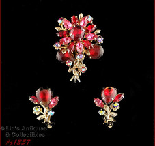 Vintage Pin and Earrings Red and Pink Rhinestones (#J1357) - $48.00