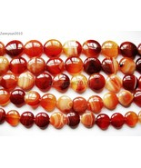 Red Carnelian Natural Agate Gemstone Round Coin Loose Beads 15'' Inches ... - $7.58