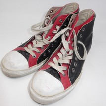Converse 11.5 Chuck Taylor Black Leather 2 Fold Red Canvas Sneaker High Top Shoe - $49.45