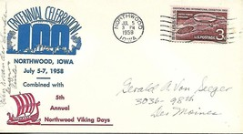Centennial Celebration Northwood IA July 5 1958 Signed by Designer/Printer - $4.95
