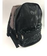 Victoria's Secret Pink Campus Backpack Grey Black Sequin Large Sized - $128.69