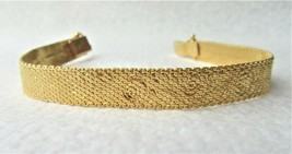 Vintage Costume Jewelry, Gold Woven Link, Etched Roses Bracelet, MONET, ... - $14.65