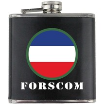US Army FORSCOM Veteran Full Color Groomsman Gift Leather Wrapped Flask - $19.79