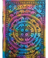 Indian Multi Color Elephant Mandala Boho Tapestry Wall Hanging Dorm Room... - $15.88