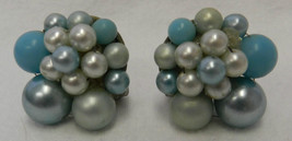 Blue Cluster Clip On Back Earrings Stacked Pearl Japan Vintage Costume Fashion - $19.57