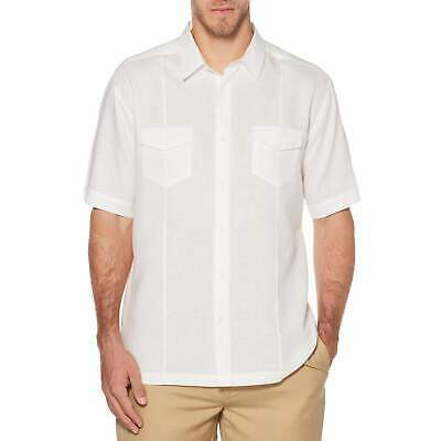 Men's Cafe Luna Premium Cuban Button Up Linen Beach Short Sleeve Dress Shirt