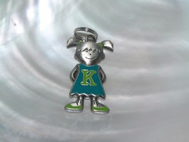 Estate Blue & Green Enamel Pewter Girl with Letter K on Her Dress Pendan... - $8.59