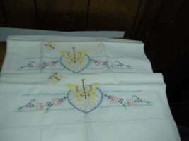 Pair VINTAGE Embroidered Cotton Pillowcases  Butterfly flowers 19 X30 - $9.99