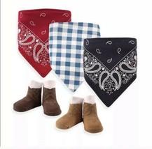Baby Bandana Bib & Sock 5 Piece Gift Set, Cowboy, Western, Infant Boy, New - $16.34