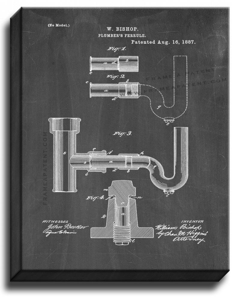 Primary image for Plumber's Ferrule Patent Print Chalkboard on Canvas