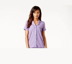 Alfani Short-Sleeve Notch-Collar Pajama Top, Sheer Lilac Small - $12.19