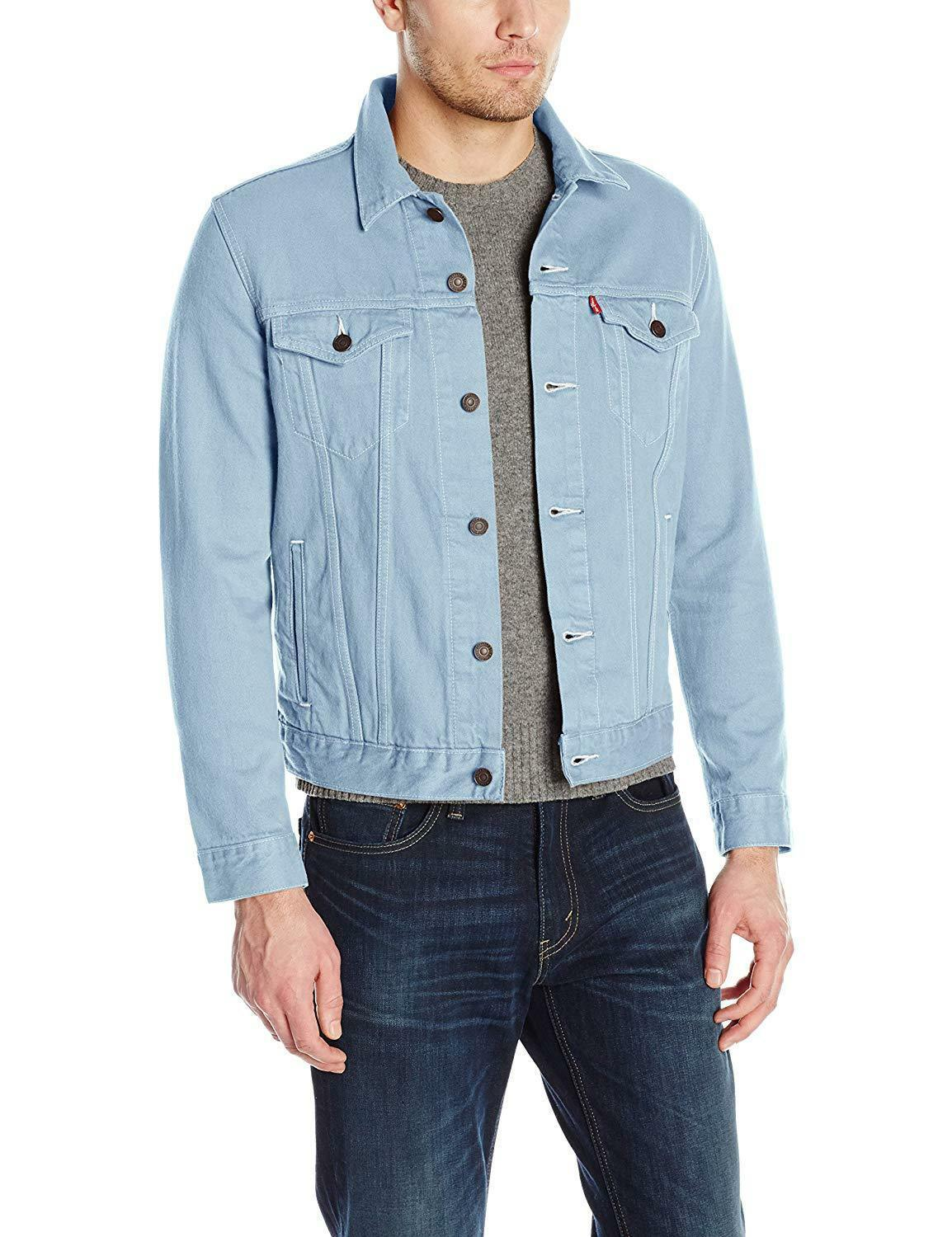 Levi's Men's Multi Pocket Button Up Denim Trucker Jacket Sky Blue 723340277