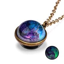 Universe Planet Glass Luminous Double-sided Retro Pendant Necklace - $9.95