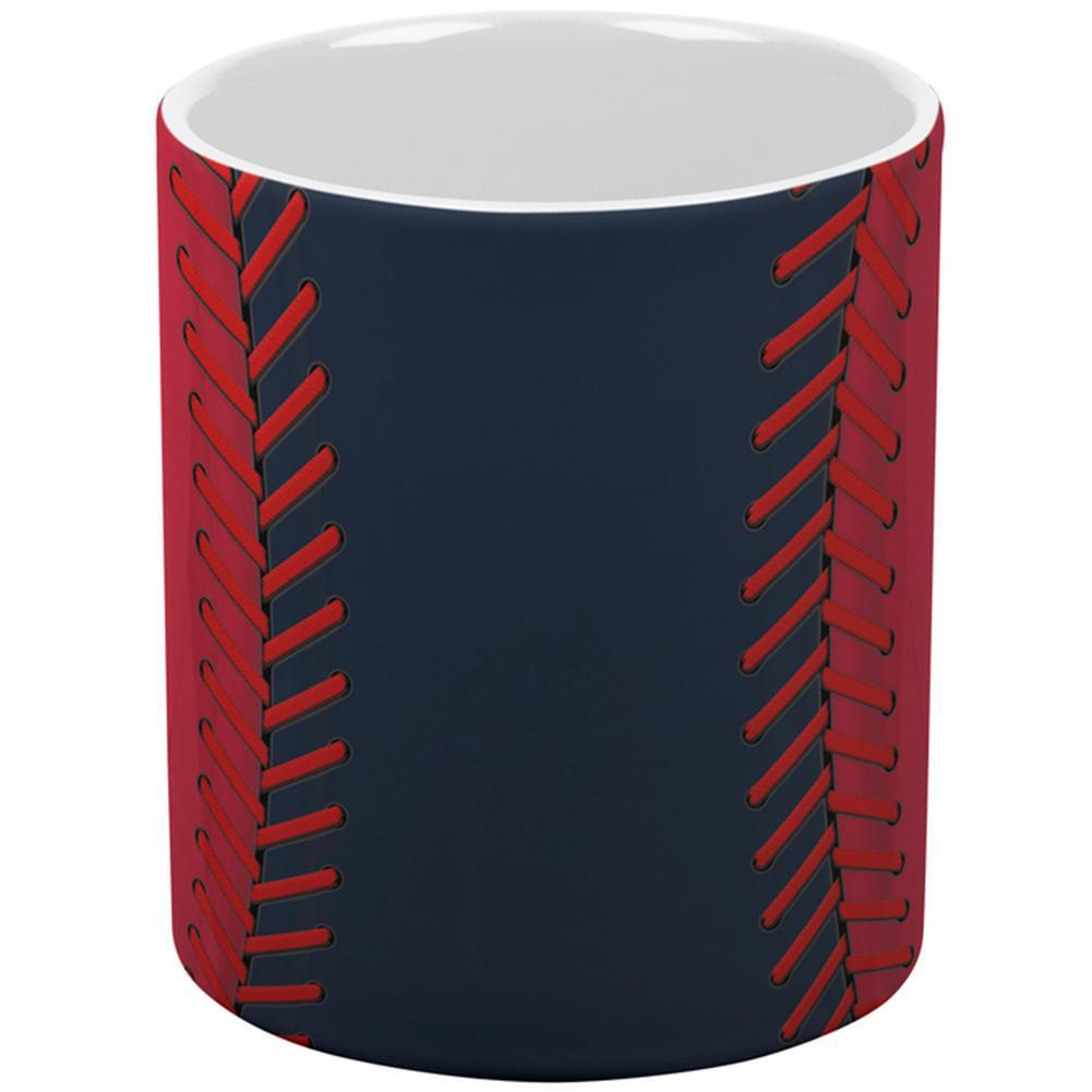 Baseball League Navy Blue and Red All Over Coffee Mug
