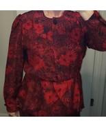 D'Alliard's Vintage 1980's Peplum Dress Red Floral Secretary M 6-8 Mid L... - $33.85