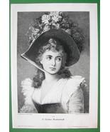 LOVELY MAIDEN Fancy Flower Hat - VICTORIAN Era Original Engraving - $13.49