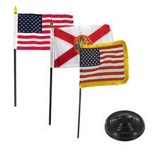 "USA Florida USA Fringe 3 Flags 4""x6"" Desk Set Table Stick Black Base - $22.00"