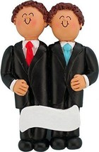 Same Sex Wedding Male Both Brown Personalized Christmas Tree Ornament - $14.36
