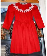 vintage girls red Long Sleeve dress size 7 - $24.74