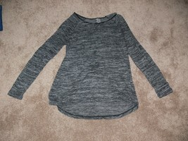 New Directions Heather Grey Sweater with Faux Leather Elbows Womens Sz L... - $12.99