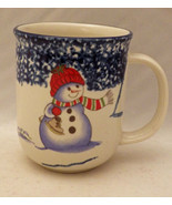 Thomson Pottery Snowman pattern - 4 Hot Chocolate/Coffee mugs/cups - New... - $11.88