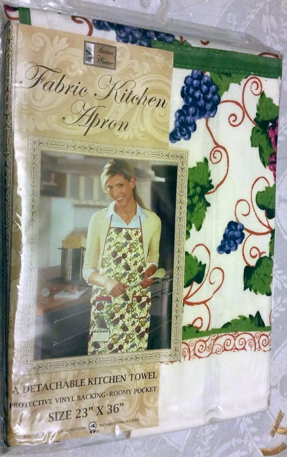 """Fabric Kitchen Apron with pocket, w/ small towel, 23"""" x 36"""", GRAPES by BH - $12.86"""