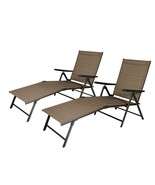 2 Pack Outdoor Chairs  Recliner Folding Adjustable Beach Pool Chaise Pat... - $119.99