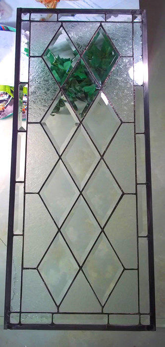 Stained Glass Window Transom/Sidelight  -  Antique Diamond - Beveled Glass