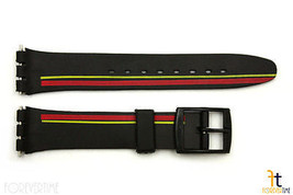12mm Ladies Red/Yellow Stripes Design Black Watch Band Strap fits SWATCH... - $9.82