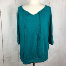 Lane Bryant Size 14 Fun and Flirty Teal Top - $14.03