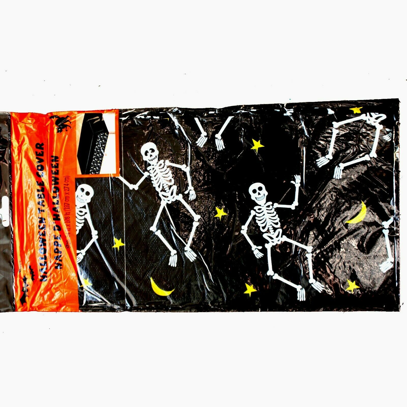 Primary image for Gothic-DANCING SKELETONS BORDER TABLE CLOTH COVER-Fun Halloween Party Decoration