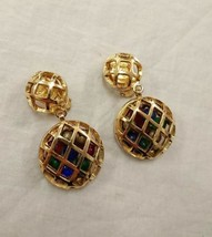 Authentic CHANEL Vintage Gold ColorStone Clip Drop Earrings Coco HCE103 - $651.32