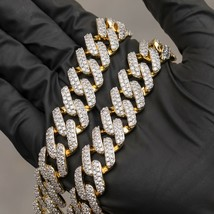 18k Gold Iced Out Dagger Cuban Link Chain - $129.99+