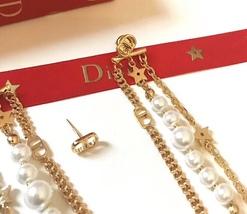 AUTH Christian Dior 2019 LE PRINTEMPS DE DIOR Multi Chain Long Dangle Earrings image 5