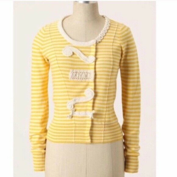 Primary image for Anthropologie SPARROW Yellow White Striped Cotton Cardigan Sweater Size S