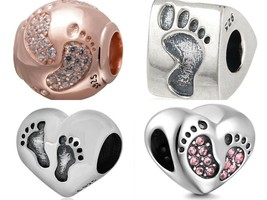 Authentic 925 sterling silver suits Charm Pandora Beats Heart Mom Baby F... - $12.99+