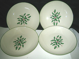 """4-pc Lenox HOLIDAY Holy Berries Individual Pasta Soup Bowl NEW w/ tags 9 1/8"""" D - $69.99"""