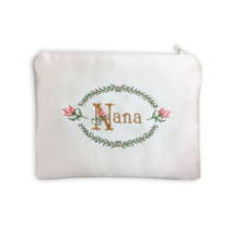 Nana Embroidered Satin Zipper Pouch Organizer, Evening Clutch, or Jewelr... - $30.00